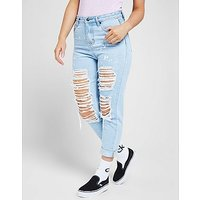 SikSilk Rip High Waisted Skinny Jean - Blue - Womens