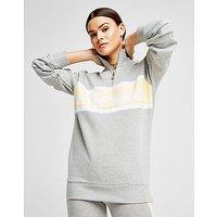 Ellesse Panel 1/4 Zip Sweatshirt - Grey/Yellow - Womens