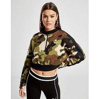 PUMA   PUMA All Over Print Camo Crop 1/4 Zip Sweatshirt - Green - Womens   Goxip