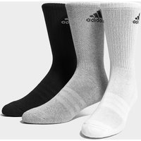 adidas 3 Pack Crew Socks - Black/Grey - Womens, Black/Grey