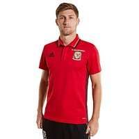 adidas Wales 2016/17 Climalite Polo Shirt - Red - Mens