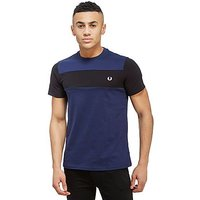 Fred Perry Textured Panel Short Sleeve T-Shirt - Navy/Blue - Mens