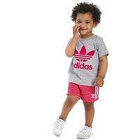 adidas Originals Girls T-Shirt and Shorts Set Infant - Grey/Pink - Kids