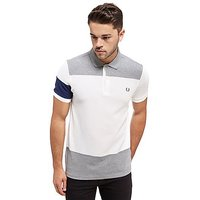 Fred Perry Block Panel Pique Polo Shirt - Grey Marl/White - Mens