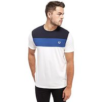 Fred Perry Colour Block Panel T-Shirt - White/Navy - Mens
