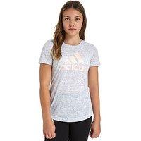 adidas Girls Logo T-Shirt Junior - White/Pink - Kids