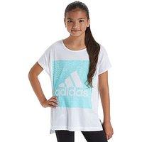 adidas Girls Loose T-Shirt Junior - White/Aqua - Kids