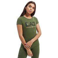 Emporio Armani EA7 Logo T-Shirt - Khaki/Black/Gold - Womens