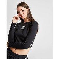 adidas Originals 3-Stripe Long Sleeve Crop - Black/White - Womens