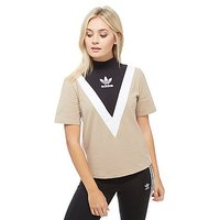 adidas Originals High Neck Chevron T-Shirt - Beige/Black - Womens