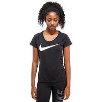 Nike Dry Miler Short Sleeve Running Top - Black/White - Womens