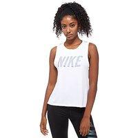 Nike Metallic Dry Miler Running Tank - White - Womens