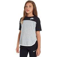 Nike Girls Long Line T-Shirt Junior - Grey/Black - Kids