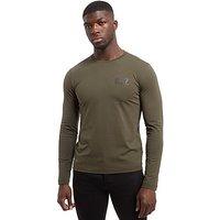 Emporio Armani EA7 Carbon Back Print Long Sleeve T-Shirt - Khaki - Mens