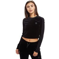 adidas Originals Velvet Vibes Long Sleeve Crop Top - Black - Womens