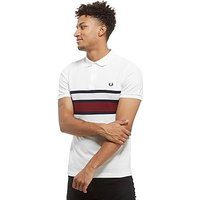 Fred Perry Stripe Panel Polo Shirt - White/Navy - Mens