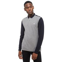 Fred Perry Long Sleeve Polo Shirt - Navy/Grey - Mens