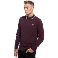 Fred Perry Twin Tip Long Sleeve Polo Shirt - Bramble/White - Mens