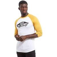 Vans Off The Wall Raglan Sleeve T-Shirt - White/Yellow - Mens