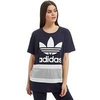 adidas Originals Panel Trefoil T-Shirt - Navy/White/Grey - Womens