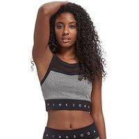 Pink Soda Sport Mix Panel Sports Bra - Grey/Black - Womens