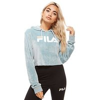 Fila Cropped Velour Hoodie - Blue/White - Womens