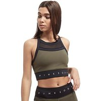 Pink Soda Sport Mix Panel Sports Bra - Khaki/Black - Womens