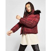 Supply   Demand Logo Fur Hood Puffer Jacket   Red   Womens