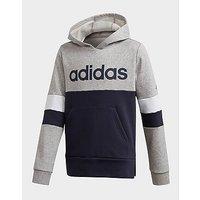 adidas Performance Linear Colorblock Hooded Fleece Sweatshirt   Medium Grey Heather    Kids