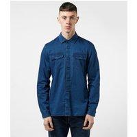 Mens Barbour International Worker Long Sleeve Shirt - Blue, Blue