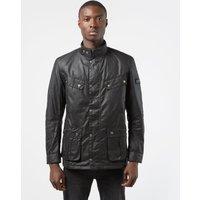 Mens Barbour International Duke Wax Padded Jacket - Black, Black