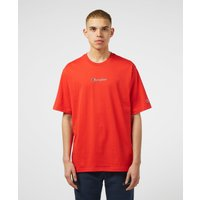 Mens Champion Central Logo Short Sleeve T-Shirt - Red/Red, Red/Red