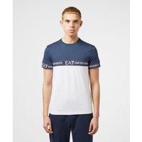 Mens Emporio Armani EA7 Block Tape Short Sleeve T-Shirt - Exclusive - White/Navy, White/Navy