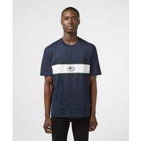 Mens Lacoste Central Logo Band Short Sleeve T-Shirt - Navy/Navy, Navy/Navy