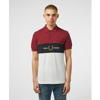 Mens Fred Perry Panel Short Sleeve Polo Shirt - Red/White, Red/White
