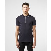 Mens Armani Exchange Logo Placket Short Sleeve Polo Shirt - Navy/Navy, Navy/Navy