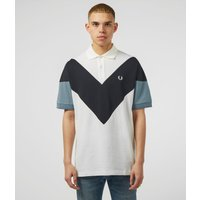 Mens Fred Perry Chevron Short Sleeve Polo Shirt - White/Slate, White/Slate