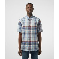 Mens Fred Perry Tartan Short Sleeve Shirt - Blue/Blue, Blue/Blue