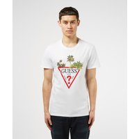 Mens GUESS Palm Triangle Short Sleeve T-Shirt - White, White