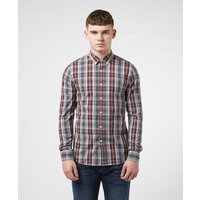 Mens Farah Brewer Tartan Check Long Sleeve Shirt - Red, Burgundy
