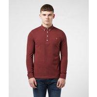 Mens Farah Ricky Long Sleeve Polo Shirt - Red, Burgundy