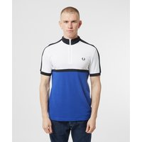 Mens Fred Perry Cycling Collar Short Sleeve Polo Shirt - Blue/White, Blue/White
