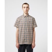 Mens Aquascutum Moore Short Sleeve Tartan Shirt - Brown, Beige
