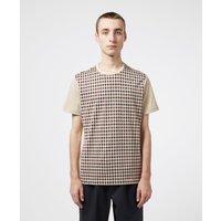 Mens Aquascutum Greg Club Check Short Sleeve T-Shirt - Brown, Beige