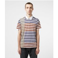 Mens Aquascutum Northfleet Short Sleeve Polo Shirt - Navy/Brown, Navy/Brown