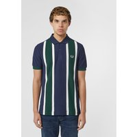 Mens Fred Perry Vertical Stripe Short Sleeve Polo Shirt - Navy/Green/White, Navy/Green/White