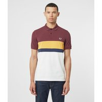 Mens Fred Perry Colour Block Short Sleeve Polo Shirt - Multi, Burgundy/Yellow/White