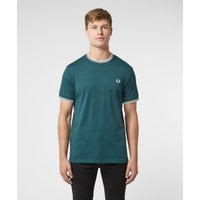 Mens Fred Perry Twin Tipped Short Sleeve T-Shirt - Multi, Teal/White