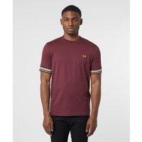 Mens Fred Perry Stripe Cuff Short Sleeve T-Shirt - Red, Burgundy/Burgundy