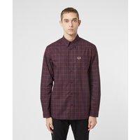 Mens Fred Perry Winter Tartan Long Sleeve Shirt - Red, Burgundy/Burgundy
